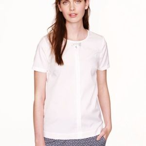 J.Crew jeweled  bow cotton top